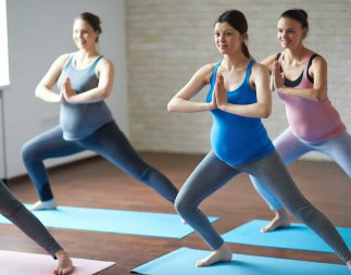 Pregnant women in a fitness class